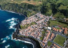 Bird`s eye view of the San Miguel island coasts Maia, Grande Ribeira district Azores. Portugal royalty free stock photography