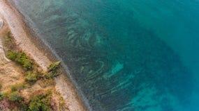 Bird`s eye view of sea shore. Autumn time coastal area Stock Photo