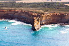 Bird's-eye view of Sentinal Rocks in Port Campbell National Park Stock Photos