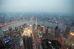 Bird's eye view shanghai at dusk Stock Photo