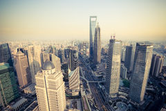 Bird's eye view shanghai financial center at dusk Royalty Free Stock Photo