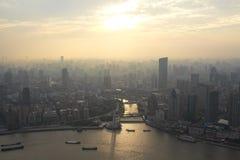 Bird's eye view of shanghai at sunset glow. Bird's eye view of shanghai bund at sunset glow Royalty Free Stock Photos