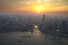 Bird's eye view of shanghai at sunset glow Stock Photography