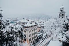 Bird's Eye View of Snowy Town royalty free stock photos