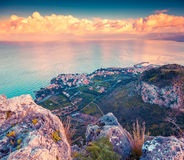 A bird's eye view of the Solanto village. Colorful spring sunset, province Palermo, Sicily, Italy, Europe. Instagram toning Royalty Free Stock Image