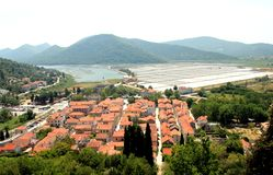 Bird's eye view of Ston town wits it's salt pans Stock Photography