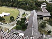 Bird`s eye view surrounding Aizuwakamatsu Castle or Tsuruga Castle or Kurokawa Castle in Japan. Bird`s eye view surrounding Aizuwakamatsu Castle or Tsuruga stock photo
