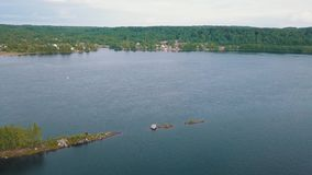 Bird`s-eye view of the Svir river, from Ladoga to Onega lake, Russia. Nature. stock video