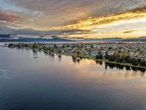 Te Anau lake and town. The bird& x27;s eye view of Te Anau lake and town in Autumn at the southisland, New Zealand Stock Photography