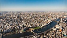 Bird`s eye view of Tokyo city. Japan royalty free stock image