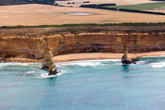 Bird's-eye view of 3 of Twelve Apostles in Port Campbell Nationa Royalty Free Stock Photography