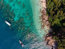 Bird's Eye View of Two Boats on Ocean royalty free stock photos