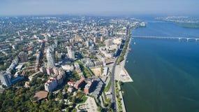 Bird`s-eye view on Ukrainian city of Dnieper stock photos