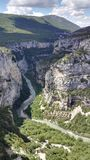 Bird`s eye view of Verdon, the Provençal river that dug the magnificent Gorges du Verdon, France, Europe royalty free stock images