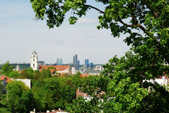 Bird's eye view of Vilnius, new and old Royalty Free Stock Images