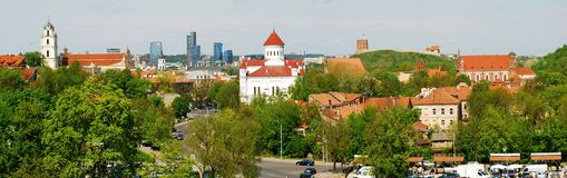 Bird's eye view of Vilnius, new and old Royalty Free Stock Photos