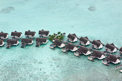 Bird's-eye view of water bungalows in maldives Royalty Free Stock Photography