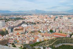 Bird`s-eye view of West-Alicante. With Plaza de Toros, Spain royalty free stock images