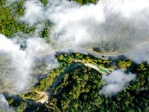Bird's Eye View of Winding Road royalty free stock photography