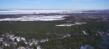 Bird's eye view. Winter landscape. Bird's eye view Royalty Free Stock Photo