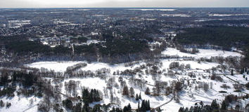 Bird's eye view. Winter landscape. Bird's eye view royalty free stock photography