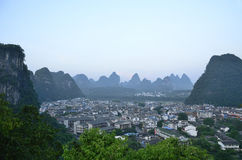 A birds eye view of Yangshuo County Stock Photo