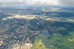 Bird's-eye view of Yekaterinburg, Sverdlovsk region, Russia - aerial panorama Royalty Free Stock Photos