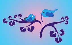 Bird's family. Stylized illustration with bird's family. EPS8  format available Stock Photo