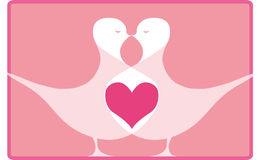 Bird's heart. Two valentine birds vector illustration