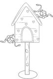 Bird's house coloring page Royalty Free Stock Photos