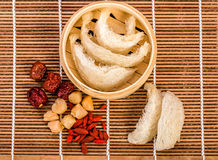 Bird's nest. Boiled bird's nest and red jujube. Chinese food style Royalty Free Stock Photos