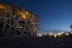 Bird`s nest in night. Night view of China National Stadium, it was called Bird Nest for the Beijing 2008 Olympic Games Royalty Free Stock Photo
