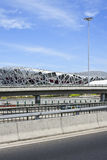 Bird`s Nest Olympic Stadium on a summer day, Beijing Stock Image