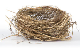 Bird's nest. Picture of abandoned bird's nest on white background Royalty Free Stock Photography