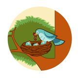 Birds nest. Vector image of a blue Birds nest vector illustration