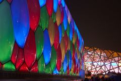 Bird's nest, water cube night view Royalty Free Stock Photos
