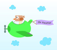 Bird's vacation. A bird on a plane with a banner that says on vacation Royalty Free Stock Photos