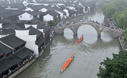 Bird's view of Dragon boating in water town Royalty Free Stock Photography