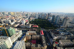 A Bird's view of Harbin. This image was taken from the top of an apartment and show the scene of Harbin, china royalty free stock image