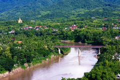Bird's view of Nam Khan river Stock Image