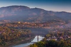 Bird's view of Nam Khan river, Luang Prabang Royalty Free Stock Images