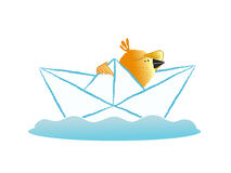 Bird sailing in a paper boat Stock Images