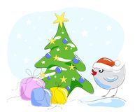 Bird in Santa Claus hat Royalty Free Stock Images