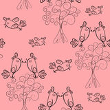 Bird scroll outline seamless pattern.cute texture Royalty Free Stock Image