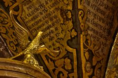 Holy Sepulchre Bird. A bird sculpture made out of gold, located above the Altar of the Crucifixion (where tradition says is the actual place of Jesus Christ's Stock Images