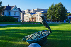 The bird sculpture on th lawn Royalty Free Stock Images