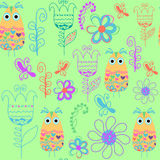 Bird seamless pattern and seamless pattern in swatch menu, vecto Royalty Free Stock Image
