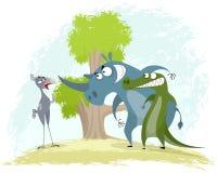 Bird secretary vs rhino and crocodile. Vector illustration of a confrontation: bird secretary vs rhino and crocodile Royalty Free Stock Photo