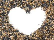 Bird seed heart Royalty Free Stock Photo