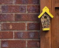Bird seed in the shape of a house Royalty Free Stock Image